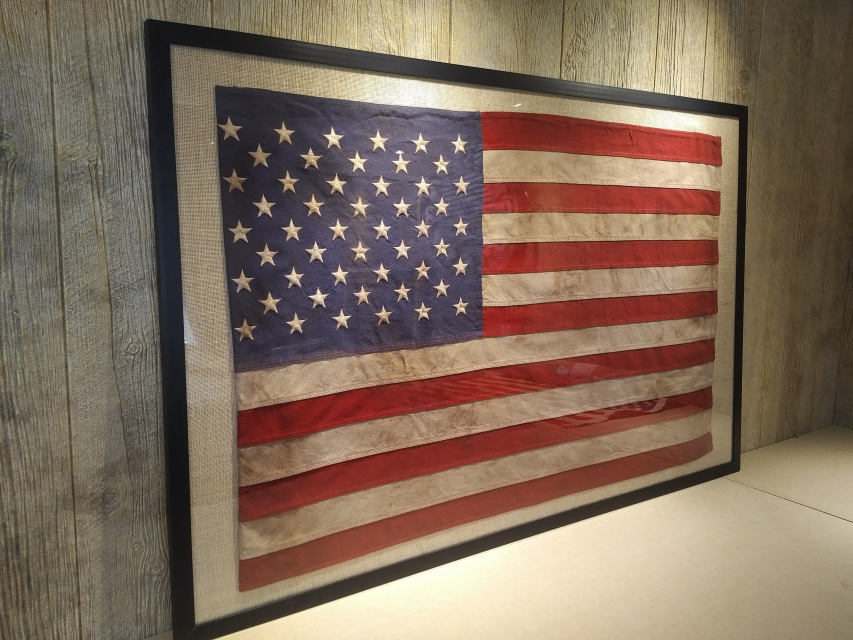 Vintage American Flags Cotton 5 Sizes Framed